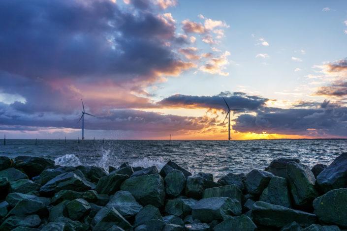 sunset and windtourbines netherland