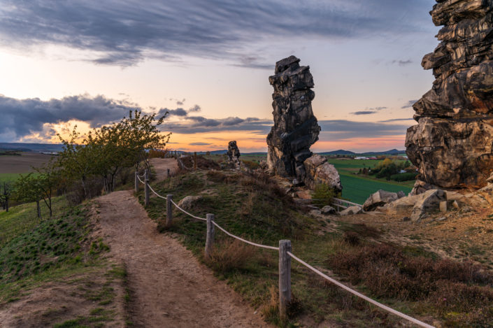 Teufelsmauer Thale Harz Sonnenuntergang