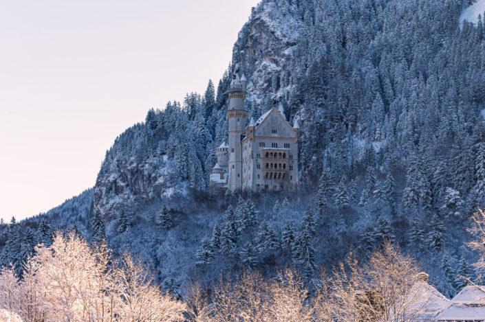 Schloss Neuschwanstein Schnee Sonnenaufgang
