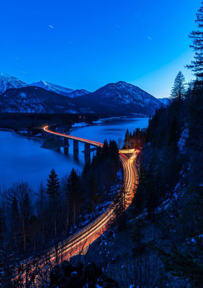 Sylvensteinspeicher Brücke Abend